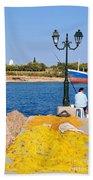 Fishing In Spetses Town Bath Towel