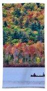 Fishing In The Fall Colors On Lake Chocorua Bath Towel