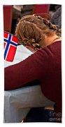 Flag Of Norway In Girls' Braided Hair Art Prints Bath Towel