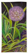 Fleur D Allium With Iris Leaves Backup Bath Towel