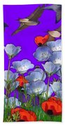 Flight Over Poppies Bath Towel