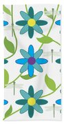 Flower And Dragonfly Design With White Background Bath Towel