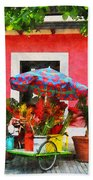 Flower Cart San Juan Puerto Rico Bath Towel