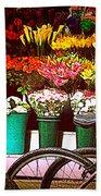 Flower Market With Bike Bath Towel