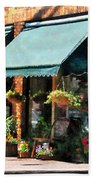 Flower Shop With Green Awnings Bath Towel