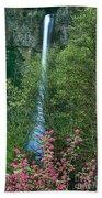 Flowering Tree Below Multnomah Falls Columbia River Gorge Nsa Oregon Bath Towel