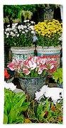 Flowers For Sale In Marketplace In Tachilek-burma Bath Towel