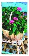 Flowers In A Basket Bath Towel