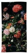 Flowers In A Glass Vase, Circa 1660 Bath Towel