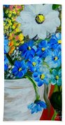 Flowers In A White Vase Bath Towel