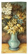 Flowers In Blue Vase - Still Life Oil Bath Towel