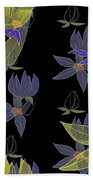 Flowers On Black Bath Towel