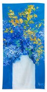 Flowers With Blue Background Bath Towel