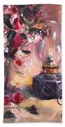 Flowers With Lantern Christmas Card Bath Towel