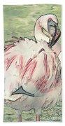 Fluffing Flamingo  Bath Towel