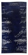 1922 Fly Fishing Lure Blue Bath Towel