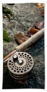 Fly Rod And Reel Detail On Mossy Wet Bath Towel