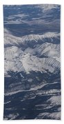Flying Over The Snow Covered Rocky Mountains Bath Towel
