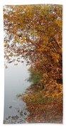 Foggy Autumn Riverbank Hand Towel