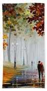 Foggy Morning - Palette Knife Contemporary Landscape Oil Painting On Canvas By Leonid Afremov - Size Bath Towel