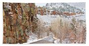 Follow The Red Rock Ridge Winter Road  Bath Towel