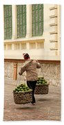 Food Vendor On Street Hanoi Vietnam Bath Towel