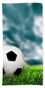 Football Soccer A Leather Ball On Grass Bath Towel