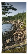 Forest And Rocky Shore In Acadia National Park Bath Towel