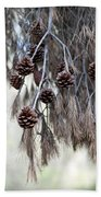 forest decoration - A pine tree give us a natural autumn decoration  Bath Towel