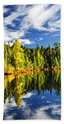 Forest Reflecting In Lake Bath Towel
