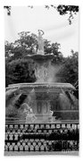 Forsyth Park Fountain - Black And White 2x3 Bath Towel