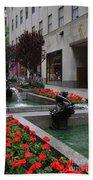 Fountain At Rockefeller Center Nyc Bath Towel
