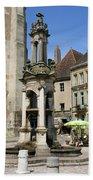 Fountain On The Market Place Autun Bath Towel