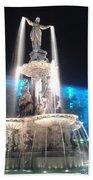 Fountain Square At Night Bath Towel