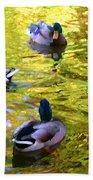 Four Ducks On Pond Bath Towel