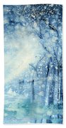 Foxes In The Snow Bath Towel