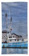 Shrimp Boat At Port Bath Towel