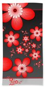 Fractal Cheerful Red Flowers Bath Towel