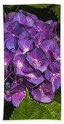 Framed Purple Blue Hydrangea Blossom Bath Towel
