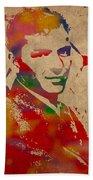 Frank Sinatra Watercolor Portrait On Worn Distressed Canvas Bath Towel