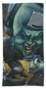 Frankinstein Playing The Air Guitar - Parody - Illustration - Monster Monsters - Humorous Bath Towel