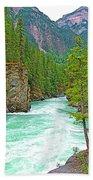 Fraser River Beyond Overlander Falls Along Yellowhead Highway-bc Bath Towel