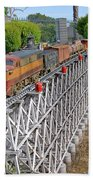 Freight Train Bridge Crossing Bath Towel