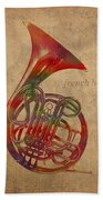 French Horn Brass Instrument Watercolor Portrait On Worn Canvas Bath Towel