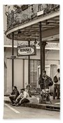 French Quarter - Hangin' Out Sepia Hand Towel