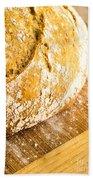 Fresh Baked Loaf Of Artisan Bread Bath Towel