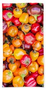 Fresh Colorful Hot Peppers Bath Towel