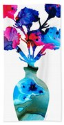 Fresh Cut - Vibrant Flowers Floral Painting Bath Towel