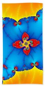 Fresh Orange Red And Blue Abstract Fractal Art Bath Towel