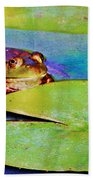Frog - On A Water Lily Pad Bath Towel